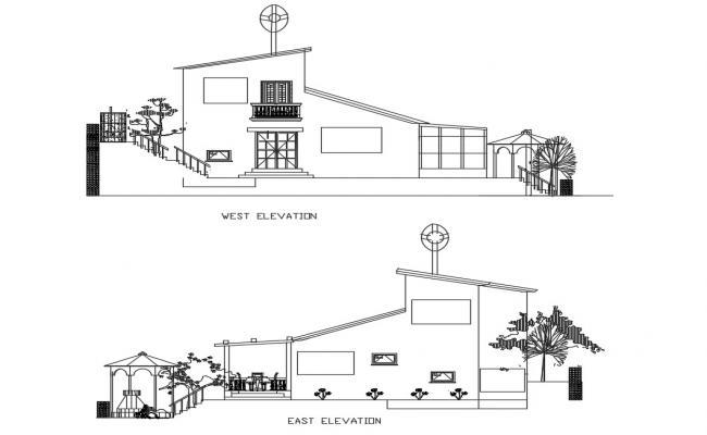 2d House Elevation Design CAD File