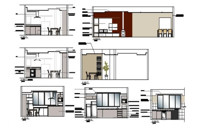 2d View of kitchen elevation drawings details AutoCAD