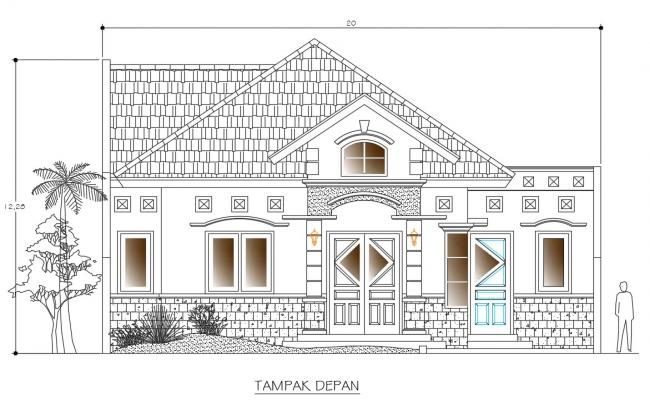 2d cad drawing bungalow elevation in dwg file