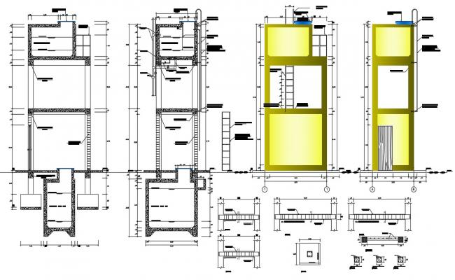2d cad drawing of hospital beam section and elevation in dwg file