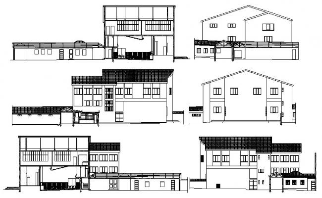 2d drawing of building with elevation and section in AutoCAD