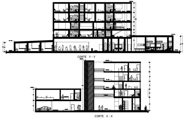 2d drawing sectional details of apartment building dwg file