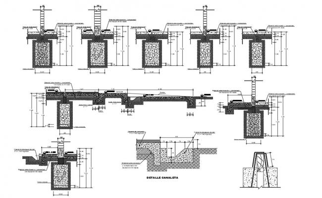 2d drawings details of concrete masonry structure dwg file