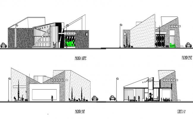 2d drawings of library building elevation and section dwg file