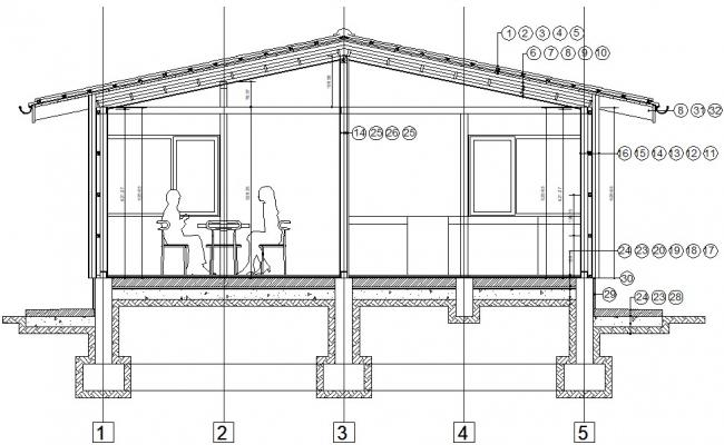 2d section drawings of house dwg file