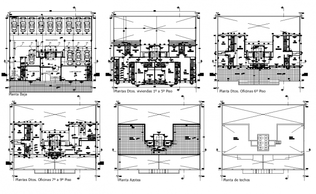 2d view of Apartment building detail plan layout dwg file