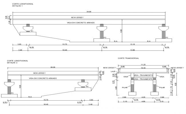 2d view of bridge structure detail elevation layout autocad file