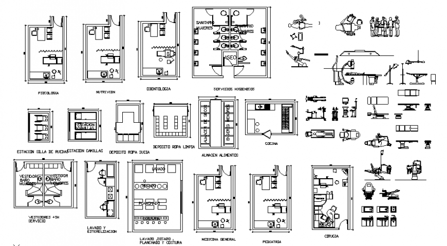2D block of various types of hospital equipment design drawing