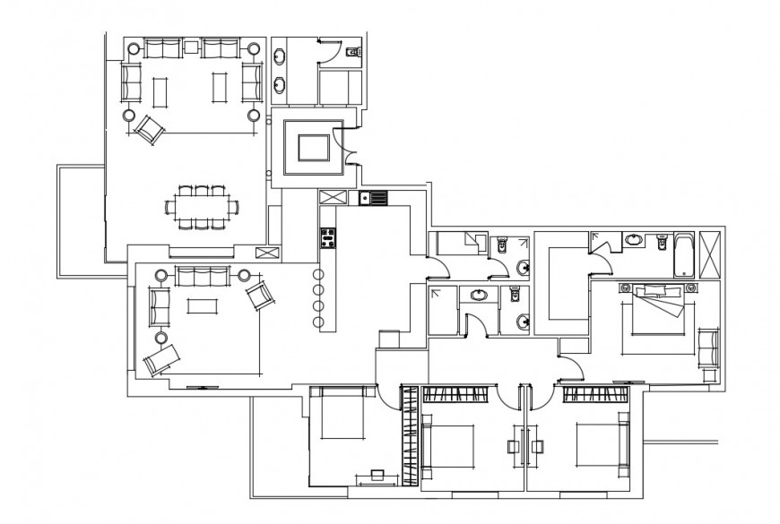 2d CAD drawing detailing of Bungalow layout autocad file