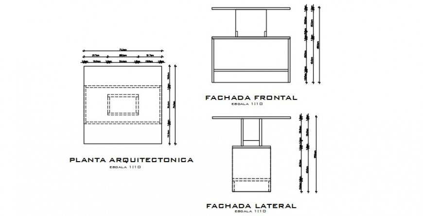 2d CAD drawings details of kitchen furniture units dwg file