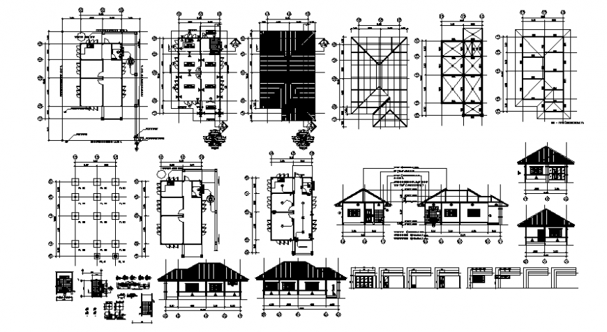 2d CAD drawings of single story house plan elevation and section dwg file