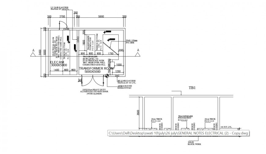 2d CAD plan and a section of electrical room dwg file