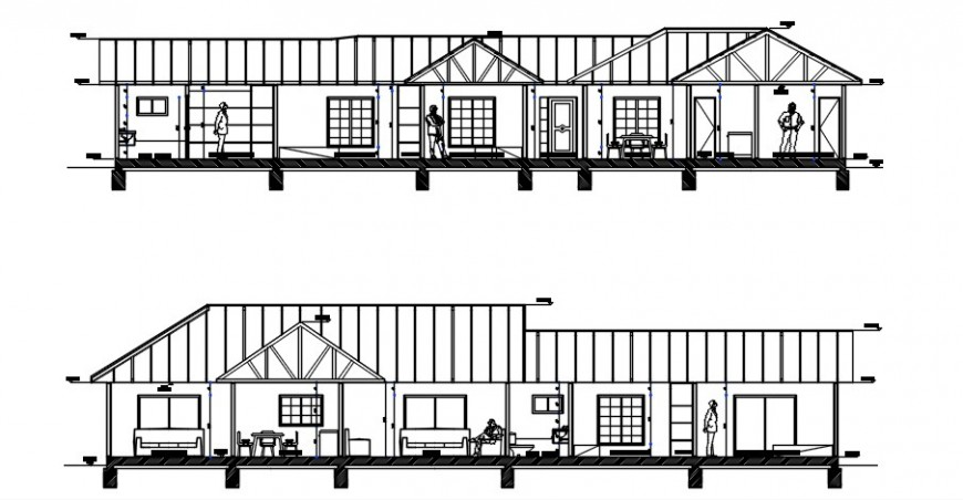 2d CAD sectional drawings of housing apartment dwg file