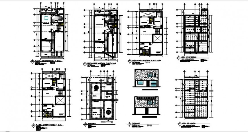 2d CAD apartment elevation and plan autocad software file
