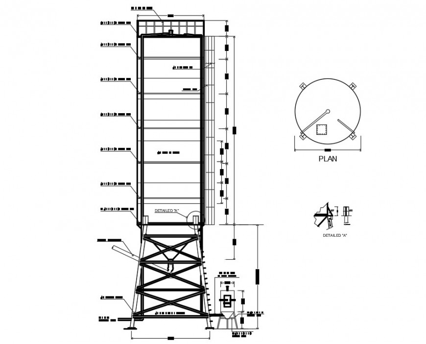 2d CAD construction details of plumbing water tank dwg file