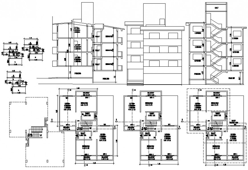 2d cad drawing apartment project detail