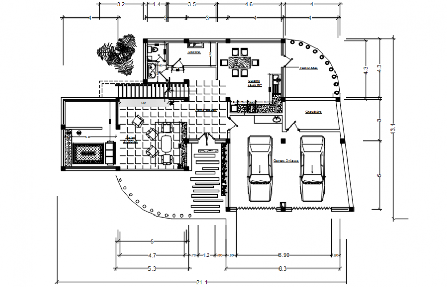 2d CAD drawing details of house layout plan autocad software file