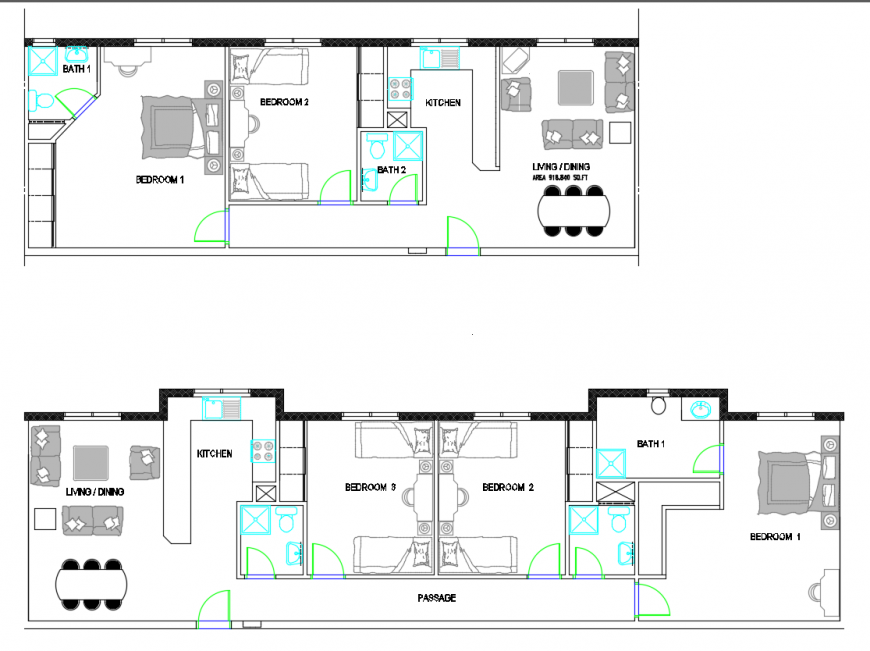 2d cad drawing furniture layout of 2 bedroom apartment auto cad software