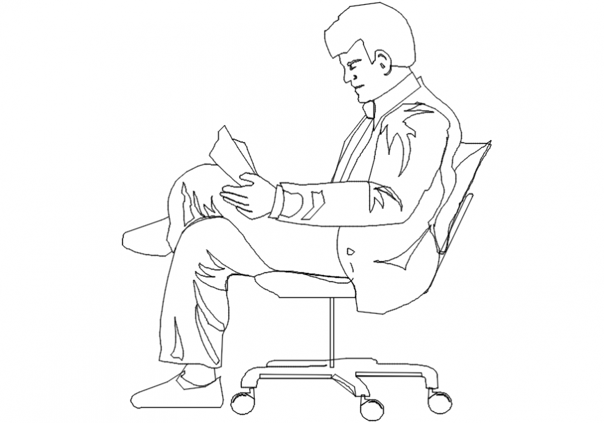 2d cad drawing of a man on office chair Autocad software