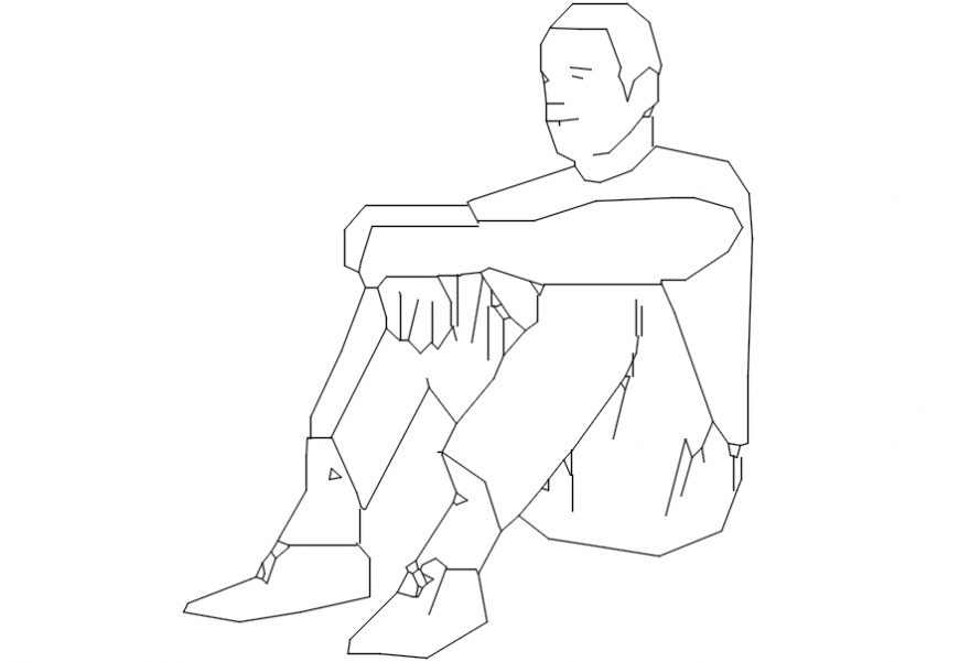 2d cad drawing of a man sitting Autocad software.