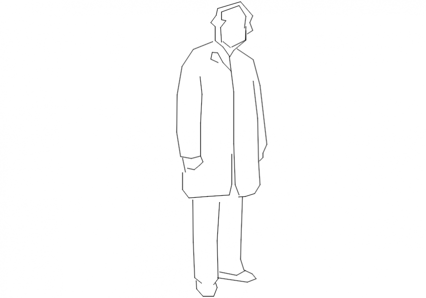 2d cad drawing of a man with long jacket AutoCAD software.