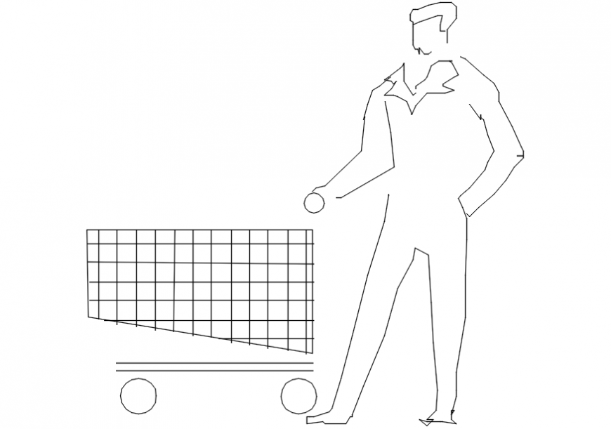 2d cad drawing of a man with shopping cart Autocad software