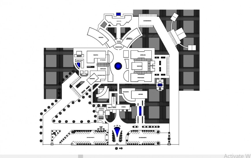 2d cad drawing of a specality hospital autocad file