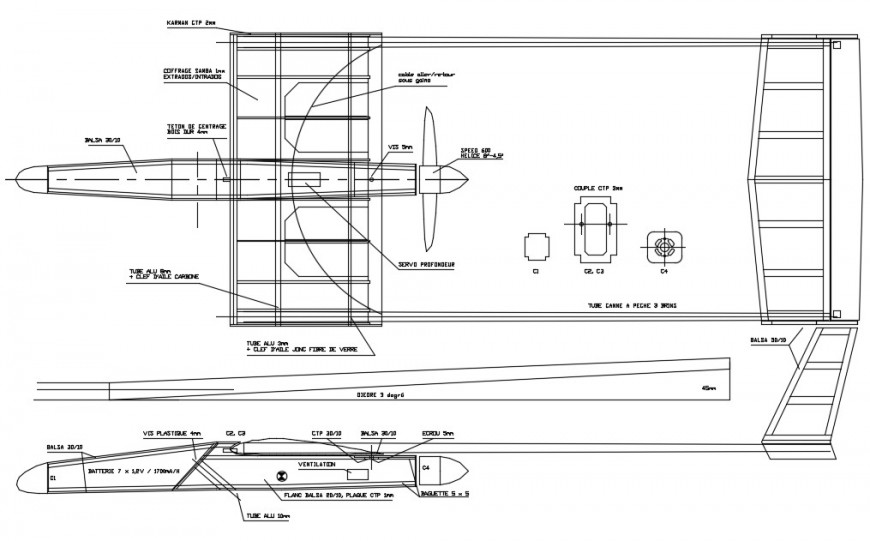 2d cad drawing of airplanes details autocad software