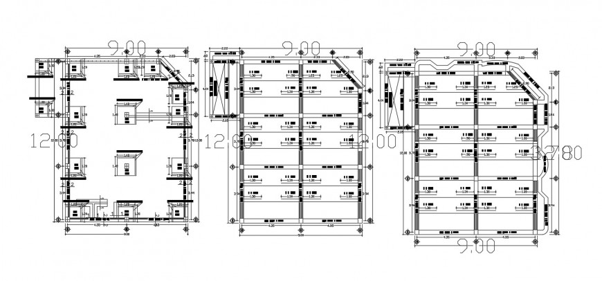 2d cad drawing of apartment column area autocad software