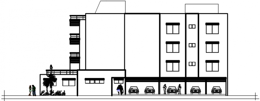 2d cad drawing of apartment exterior autocad software