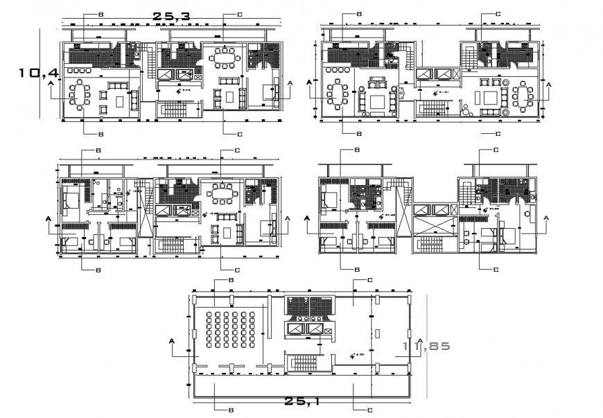 2d cad drawing of apartment house floor plan autocad software