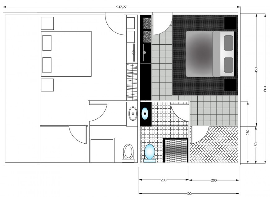 2d cad drawing of apartment room autocad file