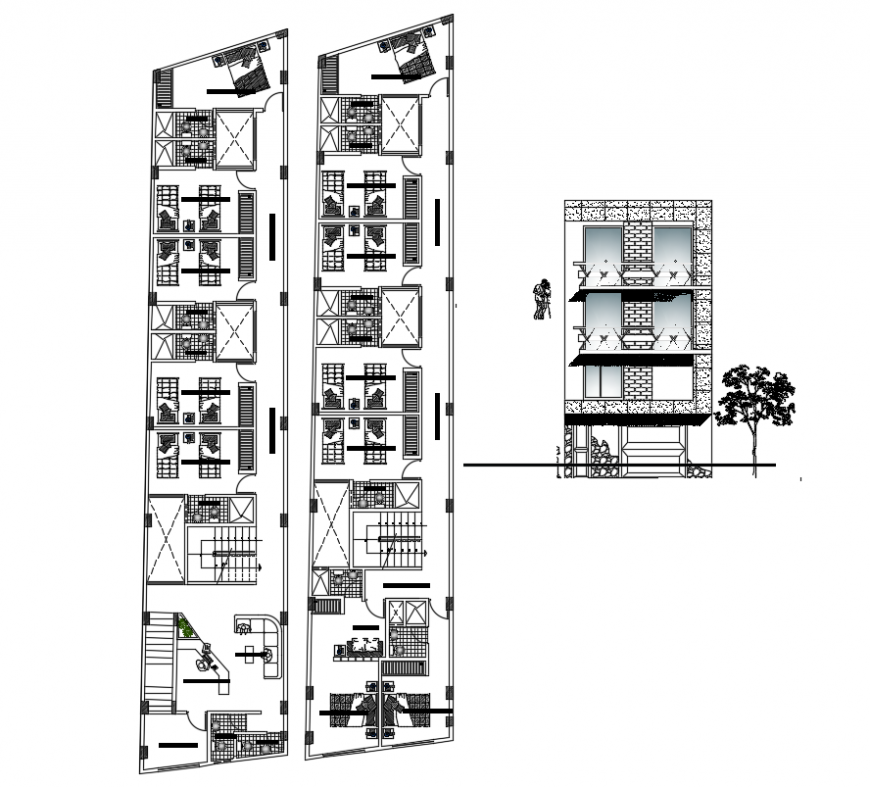 2d cad drawing of architecture hotel autocad software