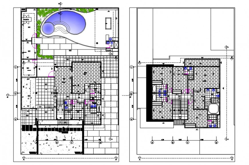 2d cad drawing of architecture residence layout  plan