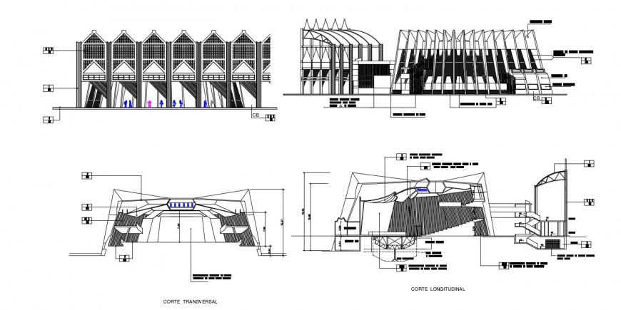 2d cad drawing of auditorium elevation autocad software