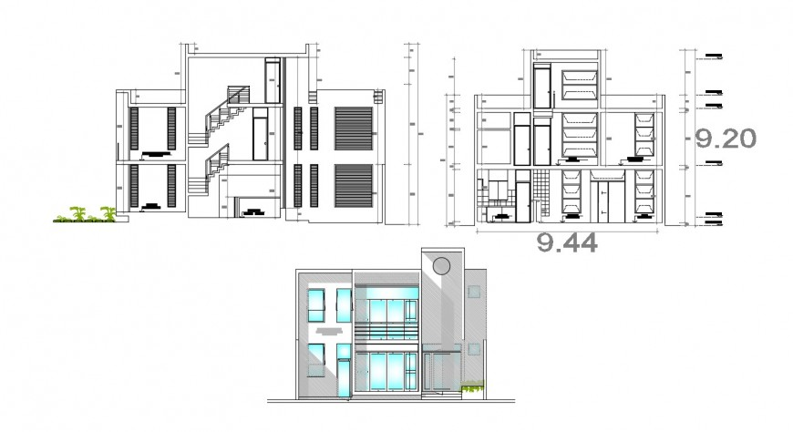 2d cad drawing of banking housing exterior AutoCAD software