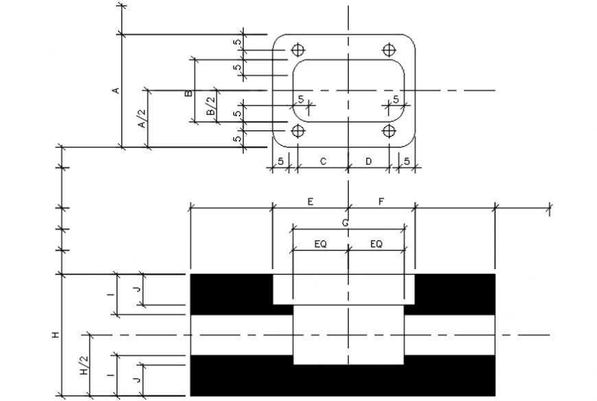 2d cad drawing of base plate autocad software