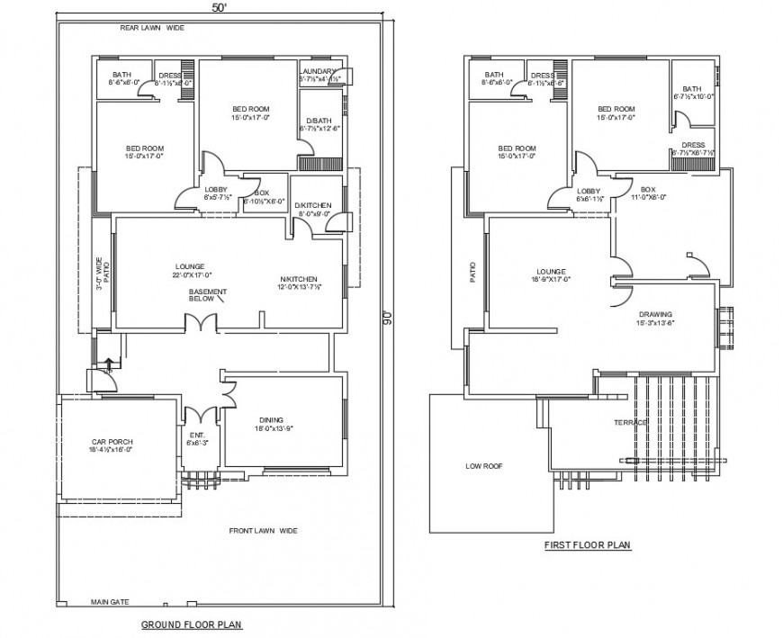2d cad drawing of basher ground floor and first-floor auto cad software