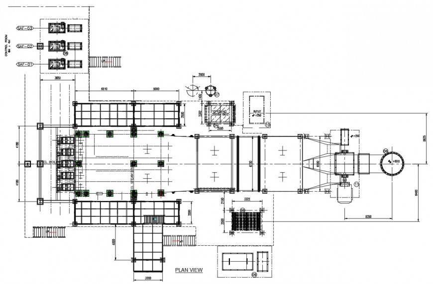 2d cad drawing of boiler house layout elevation autocad file