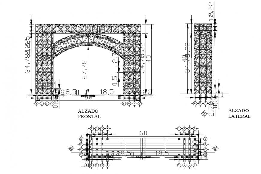 2d cad drawing of bridge panel autocad software