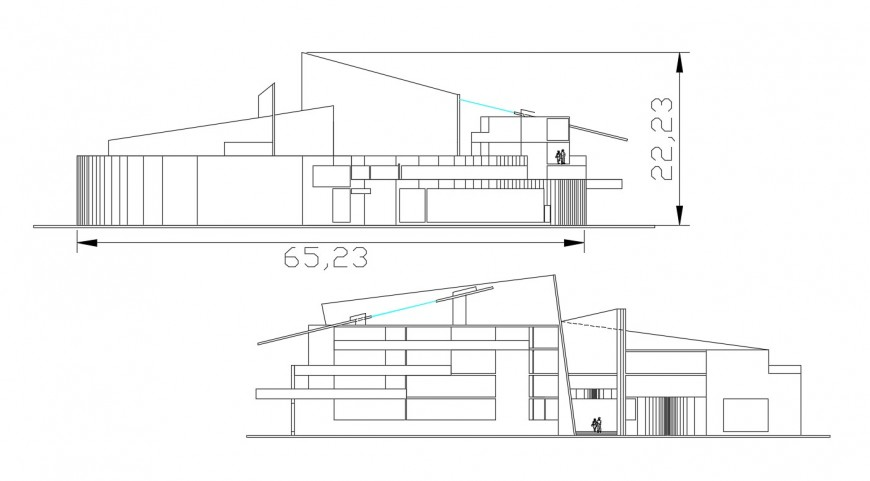 2d cad drawing of bulding exterior of cultural center autocad file