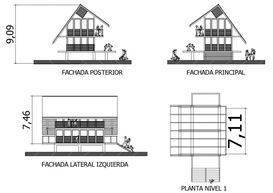 2d cad drawing of bungalow elevation  planauto cad software