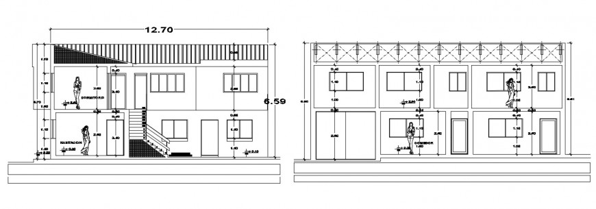 2d cad drawing of cabana section plan autocad software