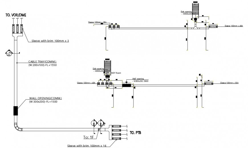 2d cad drawing of cable tray layout autocad file