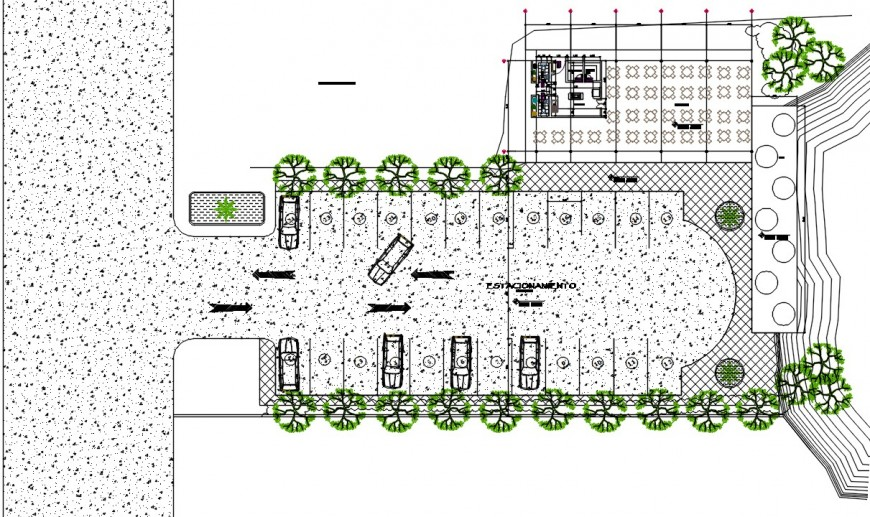 2d cad drawing of car parking with garden auto cad software
