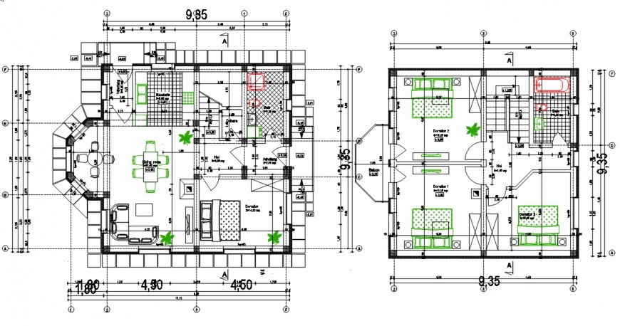 2d cad drawing of casa house plan auto cad software