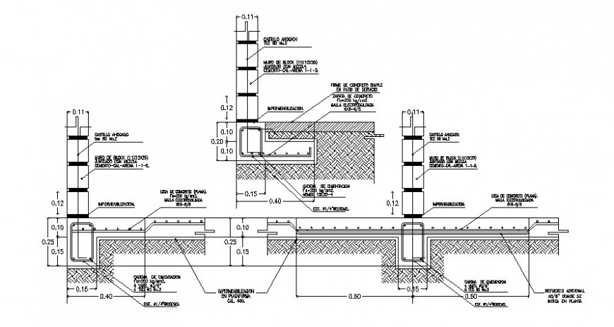 2d cad drawing of cementation blocks auto cad software