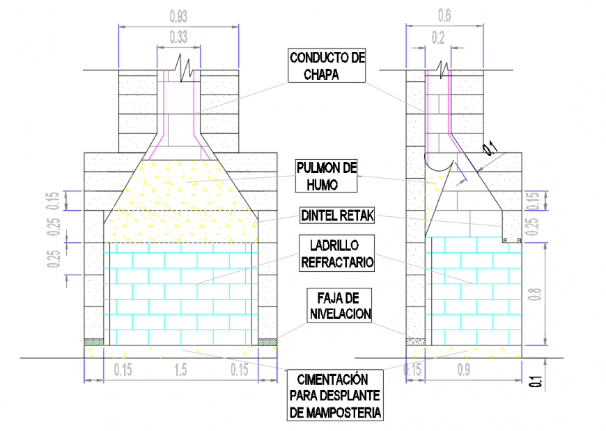 2d cad drawing of chimney crack elevation auto cad software