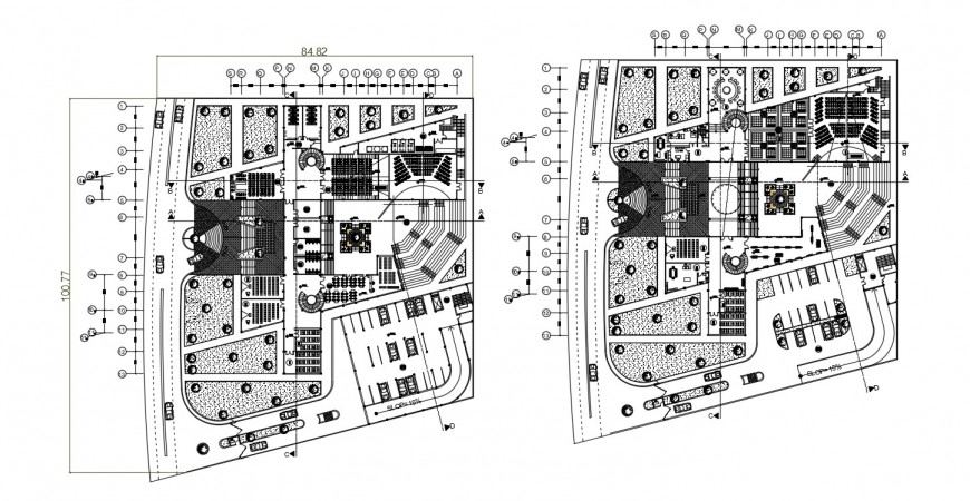 2d cad drawing of cinema theater with garden layout plan autocad software
