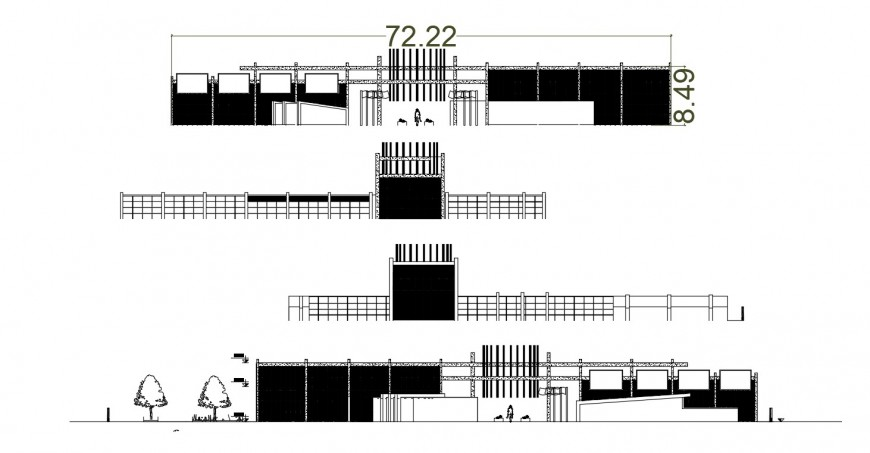 2d cad drawing of cinema theatre outer railing autocad software